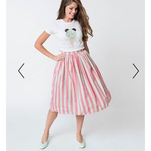 Unique vintage swing skirt mint and pink stripe
